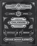 Chalkboard vintage banner and ribbons Stock Photography
