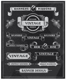 Vintage Banner and Ribbon Design Elements Royalty Free Stock Photography