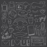 Chalkboard Vintage Doodle Objects. A collection of vintage doodle objects in a chalkboard style. Easy to edit. EPS 10. Transparencies. Two Layers Stock Images