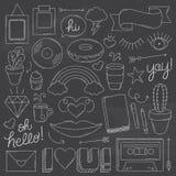 Chalkboard Vintage Doodle Objects Stock Images