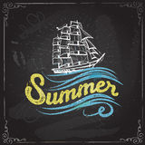 Chalkboard vintage label with a ship and hand lettering. Royalty Free Stock Photos