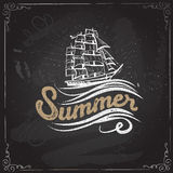 Chalkboard vintage label with a ship and hand lettering. The ink drawings are two different layers. Royalty Free Stock Photography