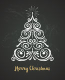 Chalkboard, Vintage style, Christmas Tree Royalty Free Stock Image