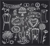 Chalkboard wedding banquet elements. Stock Photography