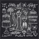 Chalkboard wedding bridal elements set. Royalty Free Stock Image