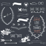 Chalkboard Wedding design elements Stock Image