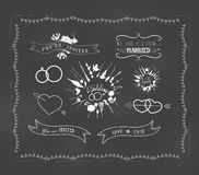 Chalkboard wedding, florals vintage set Stock Image