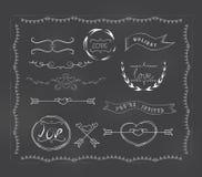 Chalkboard wedding, vintage set Stock Image