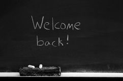 Chalkboard with Welcome Back Sign Stock Photography