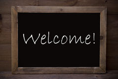 Chalkboard With Welcome stock photos