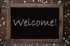 Chalkboard With Welcome, Snowflakes Royalty Free Stock Photos