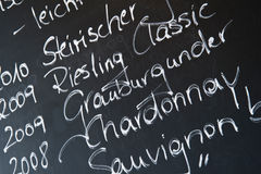 Chalkboard in a wine bar Royalty Free Stock Photos