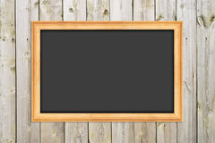 Chalkboard on the wood wall Royalty Free Stock Image
