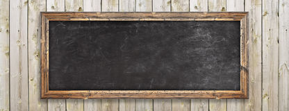 Chalkboard on the wood wall Royalty Free Stock Photography