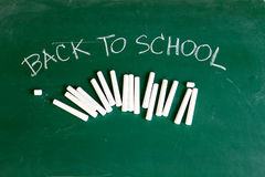 Chalkboard with wording BACK TO SCHOOL. Chalkboard with white chalk and wording BACK TO SCHOOL Royalty Free Stock Image