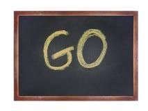Chalkboard with wording : GO Stock Image