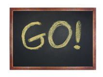 Chalkboard with wording : GO Stock Photography