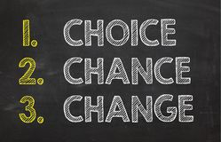 Chalkboard with words `Choice, chance and change`. Business concept. stock images