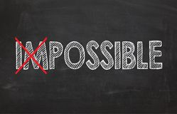 Chalkboard with words `Impossible`. Business concept Royalty Free Stock Photography