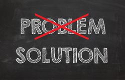 Chalkboard with words Problem and Solution`. Business concept Royalty Free Stock Image