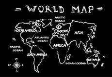 Chalkboard world map Stock Photos
