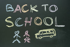 Chalkboard writing back to school Stock Images