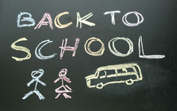 Chalkboard writing back to school Royalty Free Stock Image