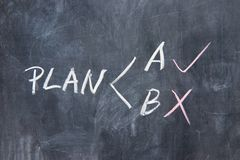 Chalkboard writing - Two plans Stock Photo