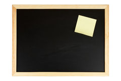 Chalkboard with yellow note. A empty black chalkboard with yellow note. Path included Royalty Free Stock Photography