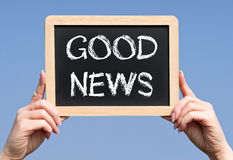 Chalkboard z dobre wieści słowami Fotografia Stock