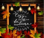 Chalkboard z jesień liśćmi ilustracja wektor
