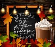 Chalkboard z jesień liśćmi ilustracji