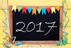 Chalkboard Z Streamer, tekst 2017 Fotografia Stock