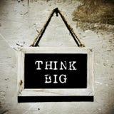 Chalkboard z tekst myślą dużą, vignetted Zdjęcie Royalty Free
