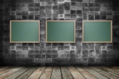 Chalkboards with empty room background Stock Images