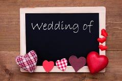 Chalkbord, coeurs rouges de tissu, mariage des textes de Photo libre de droits