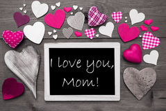 Chalkbord com muitos corações cor-de-rosa, eu te amo mamã Fotografia de Stock