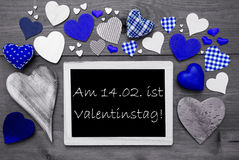 Chalkbord With Many Blue Hearts, Valentinstag Means Valentines Day Royalty Free Stock Images