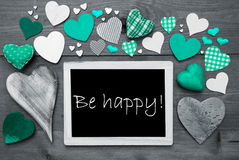 Chalkbord With Many Green Hearts, Be Happy Royalty Free Stock Images