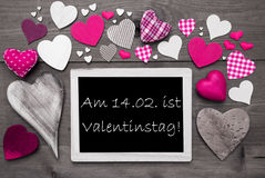 Chalkbord With Many Pink Hearts, Valentinstag Means Valentines Day Stock Images