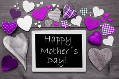 Chalkbord With Many Purple Hearts, Happy Mothers Day stock photos