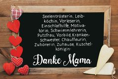 Chalkbord, Red And Yellow Hearts, Calligraphy Danke Mama Means Thank You Mom royalty free stock photo