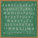 Chalked alphabet on a chalkboard background Royalty Free Stock Image