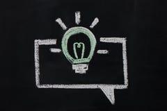 Chalked burning bulb on chalkboard Royalty Free Stock Image