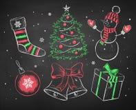 Chalked Christmas set. Royalty Free Stock Photo