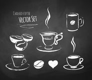 Chalked coffee set. Hand drawn chalked coffee vector set Stock Photography