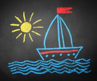 Chalked drawing of ship Stock Images