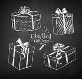 Chalked gift boxes Royalty Free Stock Image