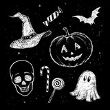 Chalked Halloween collection Stock Image