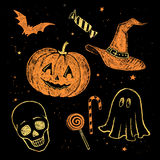 Chalked Halloween collection. Royalty Free Stock Photo